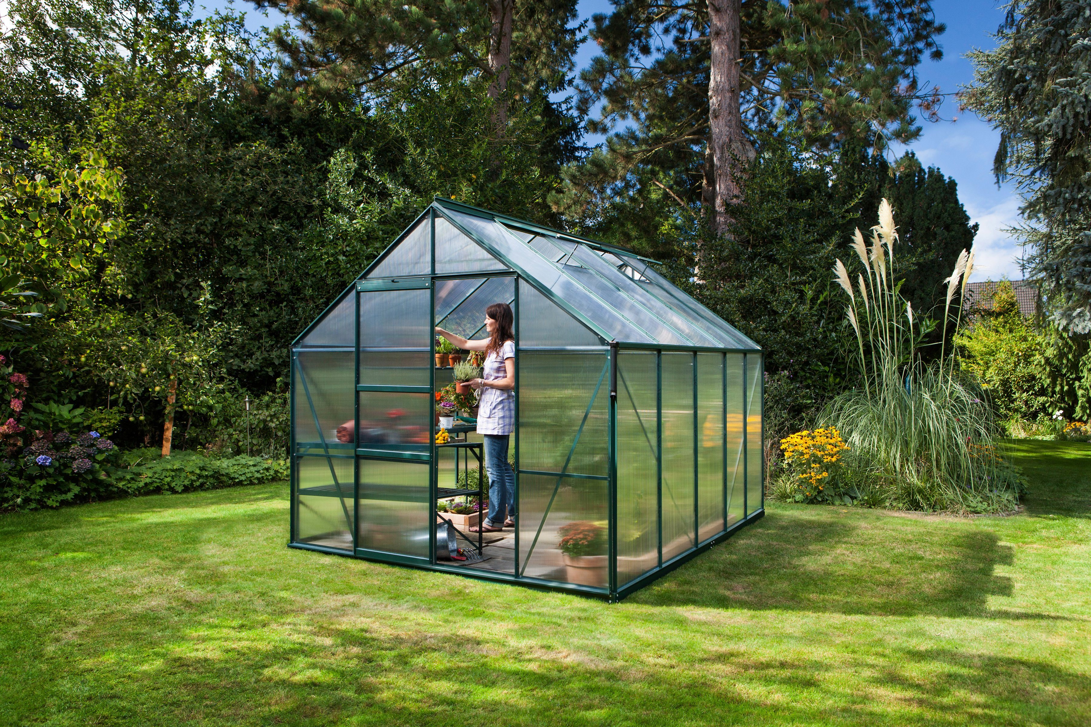 VITAVIA Gewächshaus »Merkur 8300«, BxTxH: 254x317x230 cm, grün, 4 mm | Garten > Gewächshäuser | Vitavia