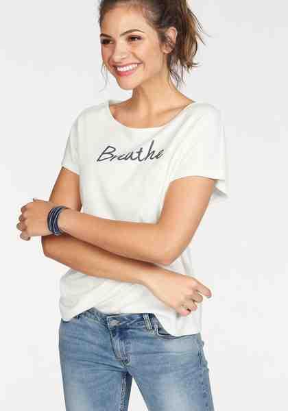 People Tree T-Shirt »Breathe«, mit überschnittenen Schultern