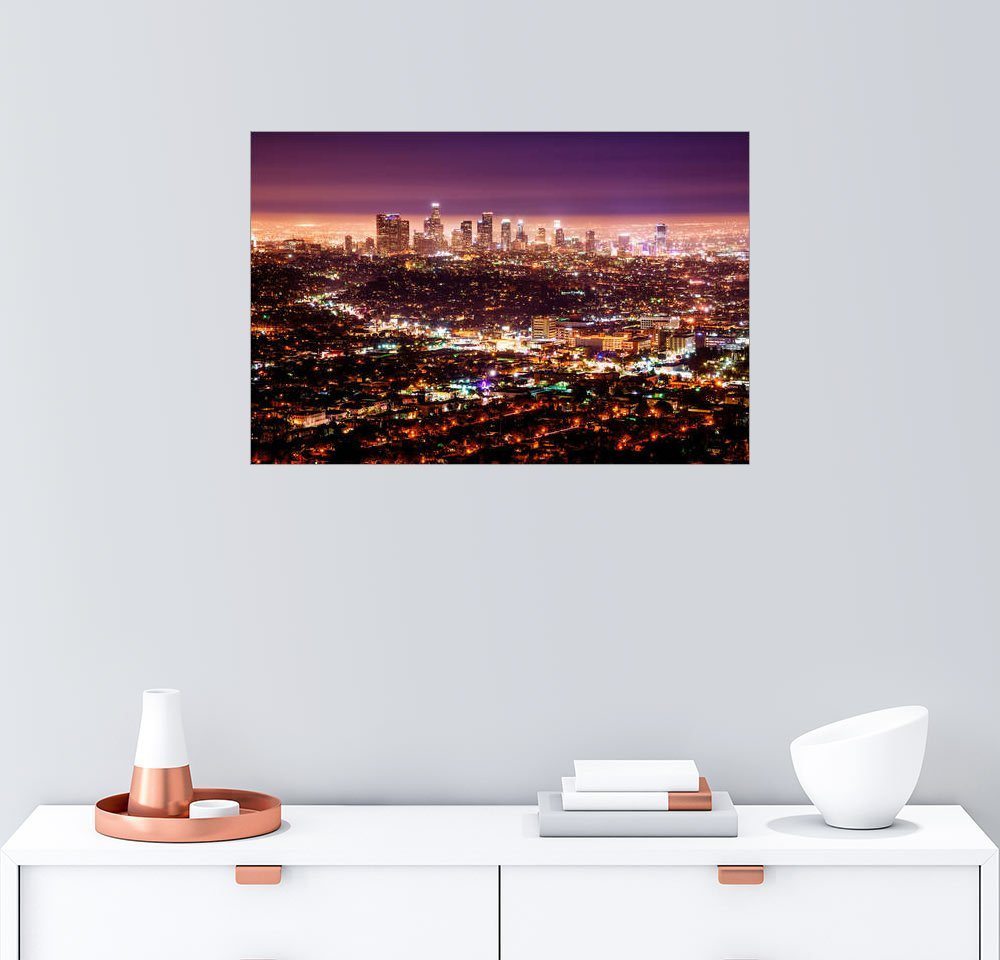Posterlounge Wandbild - Daniel Heine »Los Angeles bei Nacht«   Dekoration   Bunt   Holz   Posterlounge