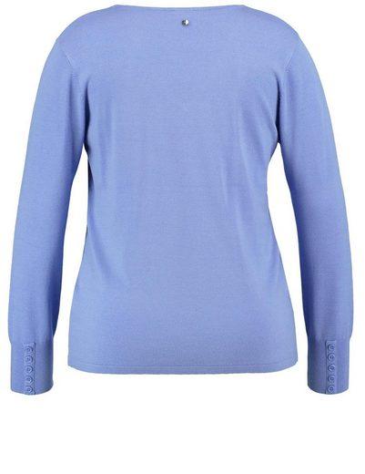 Samoon Pullover Langarm Rundhals Basic-Pullover mit V-Ausschnitt