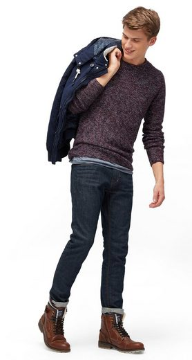 Tom Tailor Denim Pullover Sweater Around Neck In Melange Optic