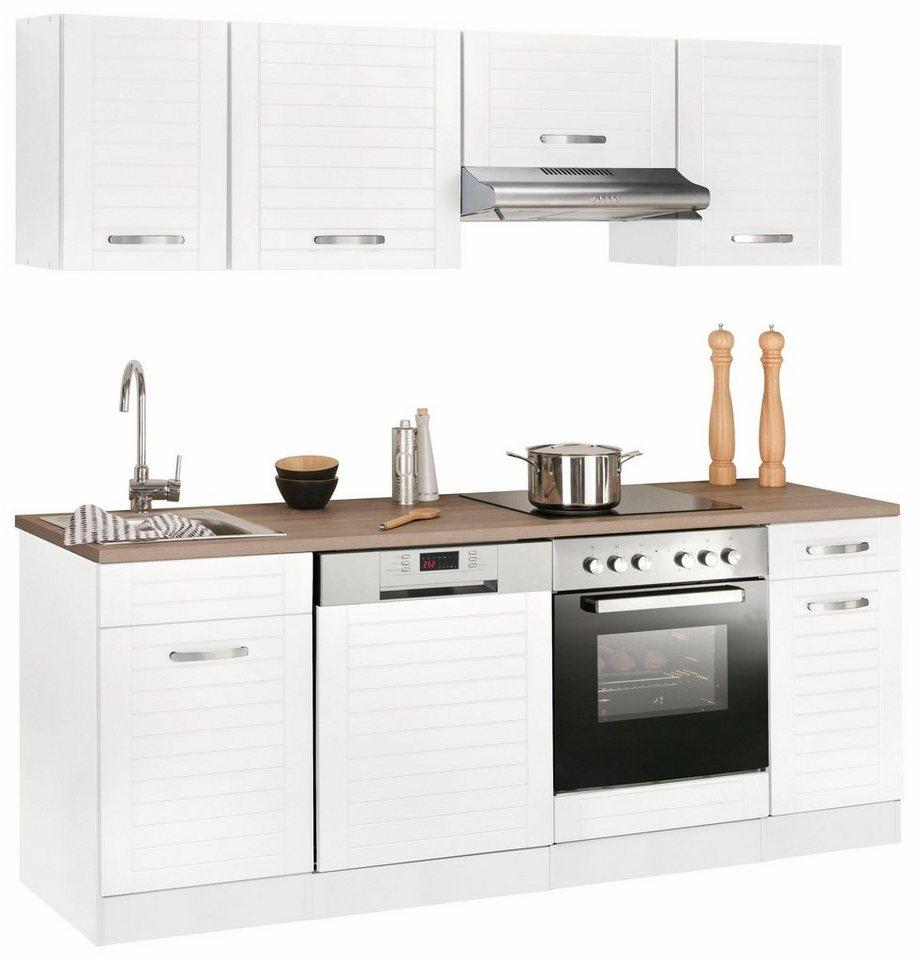 Küchenzeile »Falun«, Mit E Geräten, Breite 210 Cm Mit Fräsungen In