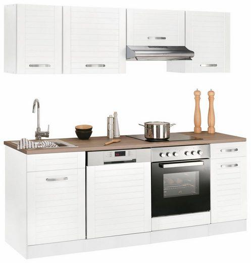 Küchenzeile »Falun«, mit E-Geräten, Breite 210 cm mit Fräsungen in den Fronten
