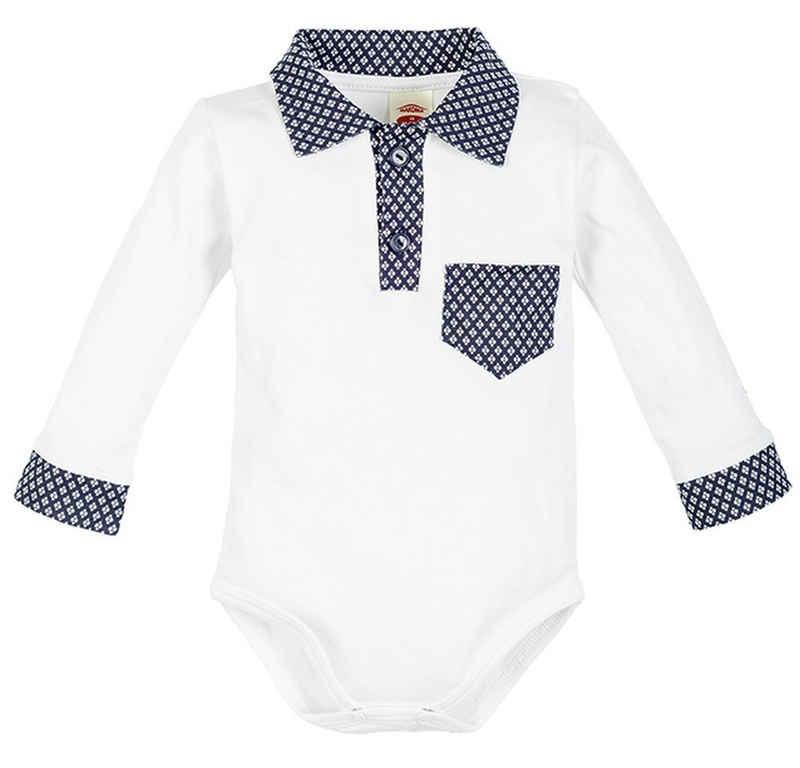 Makoma Body »Baby Langarm Body mit Kragen Hemdbody Jungen« (1-tlg) 100% Baumwolle