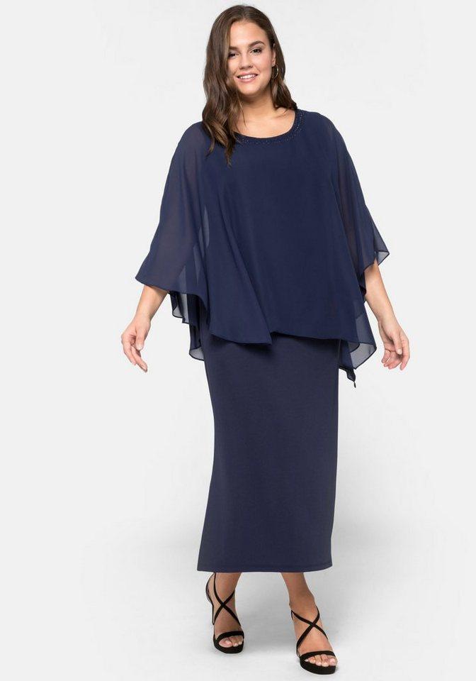 Festtagsmode - Sheego Abendkleid im Lagenlook › blau  - Onlineshop OTTO