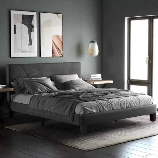 Flieks Polsterbett »Wohlgefühl«, Doppelbett Bettgestell mit Lattenrost, gepolsteres Bett mit Kopfteil für Schlafzimmer, dunkelgrau, 140 x 200cm(Matratze nicht dabei)