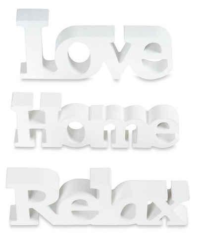 Levandeo® Deko-Schriftzug, levandeo 3er Set Schriftzug Holz Love Home Relax weiß shabby Aufsteller Deko