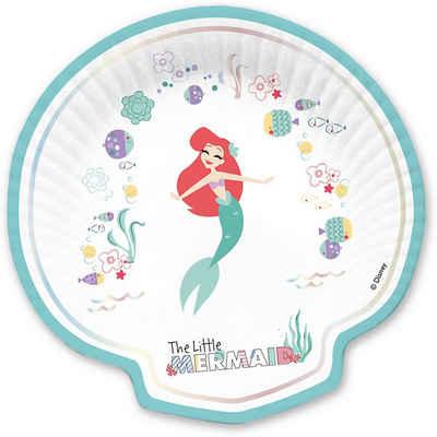 Procos Einwegteller »Muschelförmige Pappteller Ariel under the Sea«