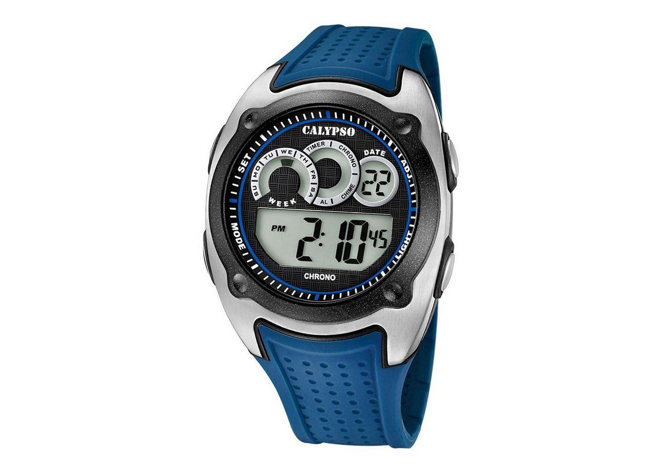 calypso watches -  Digitaluhr »UK5722/3 Calypso Herren Uhr K5722/3 Kunststoff PUR«, (Digitaluhr), Herren Armbanduhr rund, Kunststoff, PURarmband blau, Sport