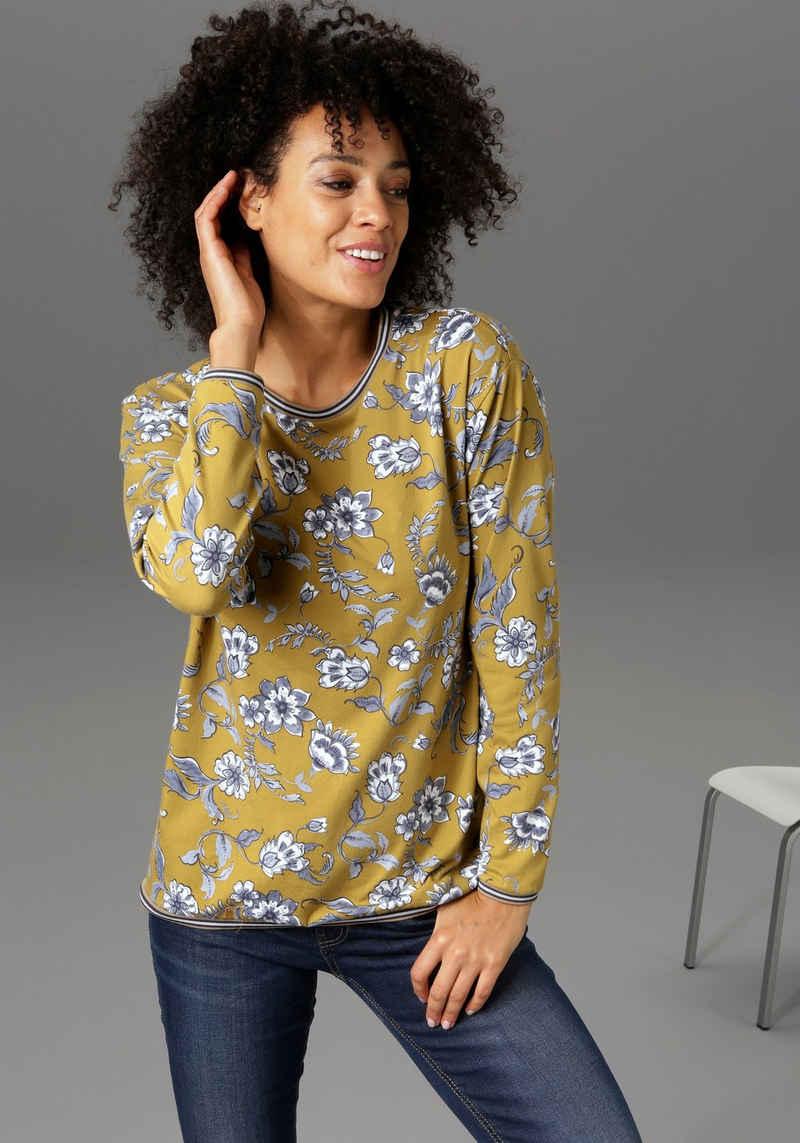 Aniston CASUAL Sweatshirt mit gestreiften Bündchen - NEUE KOLLEKTION