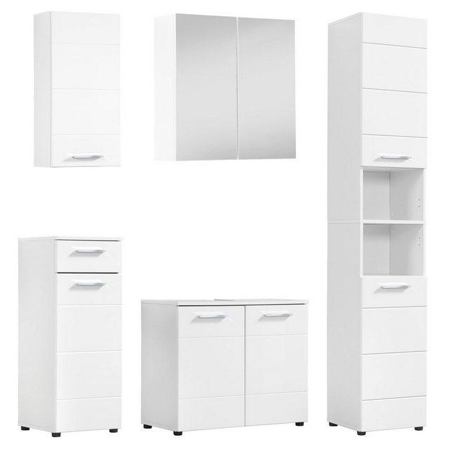 Badezimmer Sets - mokebo Badmöbel Set »Der Steuermann«, (5 tlg), in Hochglanz Weiß aus MDF  - Onlineshop OTTO