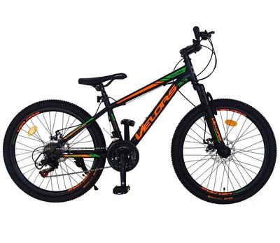 Velors Mountainbike »Fahrrad Jungen Kinder 24 Zoll Mountainbike MTB, Shimano Tourney TZ500D, 21 Gang, Stahl Rahmen, mechanische Scheibenbremse«, 21 Gang Shimano, Kettenschaltung