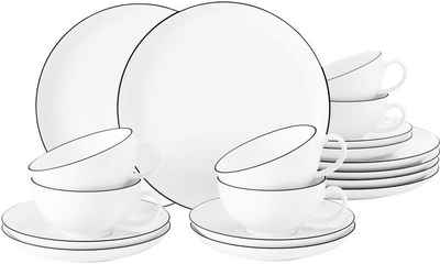 Seltmann Weiden Teeservice »Lido« (18-tlg), Porzellan, mit Linien-Dekor, 140 ml