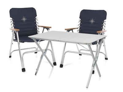 Campart Campingstuhl (3 Stück), Campingmöbel SET Alu Holz Klappstuhl Balkon mit Tisch, Outdoor Stühle klappbar für Camping, Garten-Stühle, Terrassenstühle und Balkonstühle, Relaxstuhl Blau mit Rolltisch