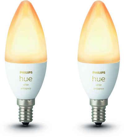 Philips Hue »White Ambiance E14 LED-Lampe« LED-Leuchtmittel, E14, Neutralweiß, Tageslichtweiß, Warmweiß, Extra-Warmweiß, Smarte E14 LED-Lampen in Kerzenform, Lichtsteuerung per Bluetooth oder Hue Bridge, Auswahl aus 50.000 Weißschattierungen, Stufenloses Dimmen