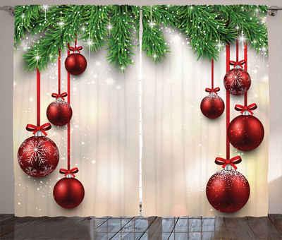 Gardine »Schlafzimmer Kräuselband Vorhang mit Schlaufen und Haken«, Abakuhaus, Weihnachten Red Ball Ribbons