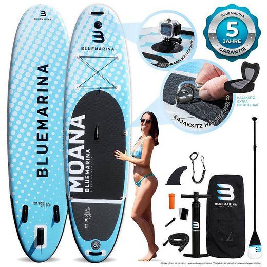 Bluemarina SUP-Board »Bluemarina SUP Board Moana«, 5 Jahre Garantie, Doppelhubkolbenpumpe, Action-Cam-Halterung, Transportrucksack, Aluminium Paddel