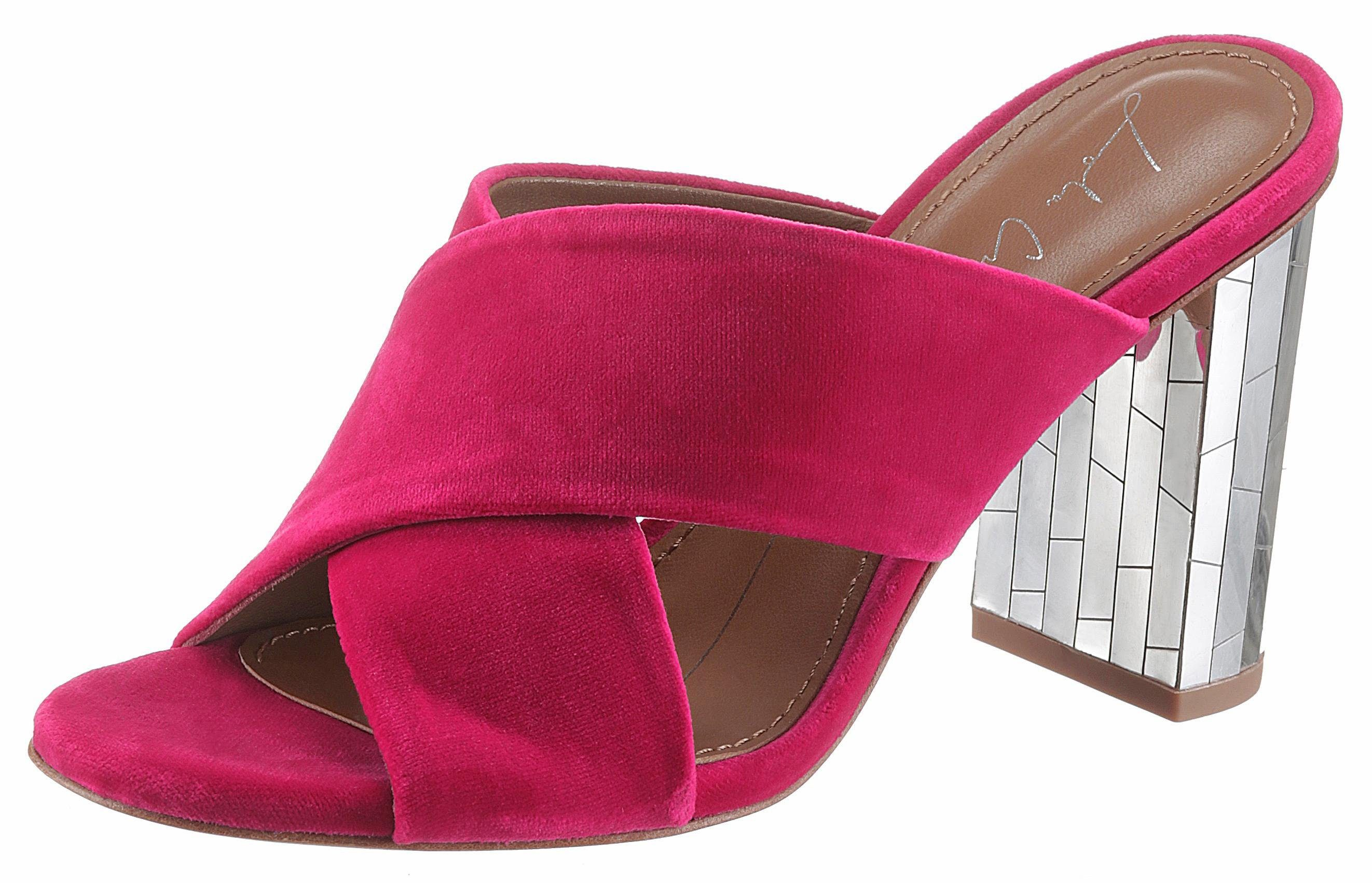 Lola Cruz Pantolette, mit Absatz in Spiegel-Optik  pink