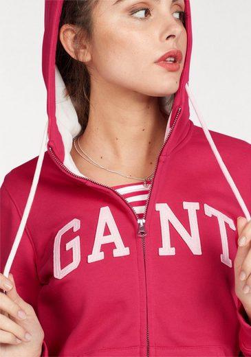 Gant Kapuzensweatjacke GANT FULL ZIP HOODIE, mit aufgesticktem Logoschriftzug