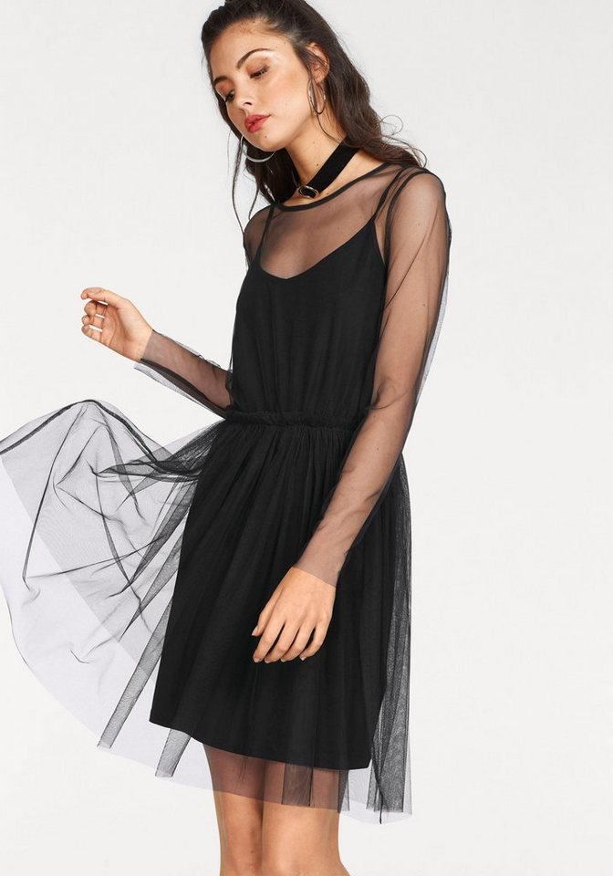 minimum Partykleid »Majbrith dress« (Set, 2-tlg) mit Unterkleid und Rüschen-Details | Bekleidung > Kleider > Partykleider | Schwarz | minimum