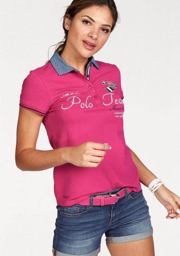 Tom Tailor Polo Team Poloshirt, mit kontrastfarbenem Kragen in Denim-Optik und unterlegter Streifen-Knopfleiste