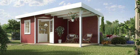 WEKA Set: Gartenhaus »Designhaus 213B Gr.1«, BxT: 586x278cm, mit Anbaudach + Rückwand und Boden im Haus