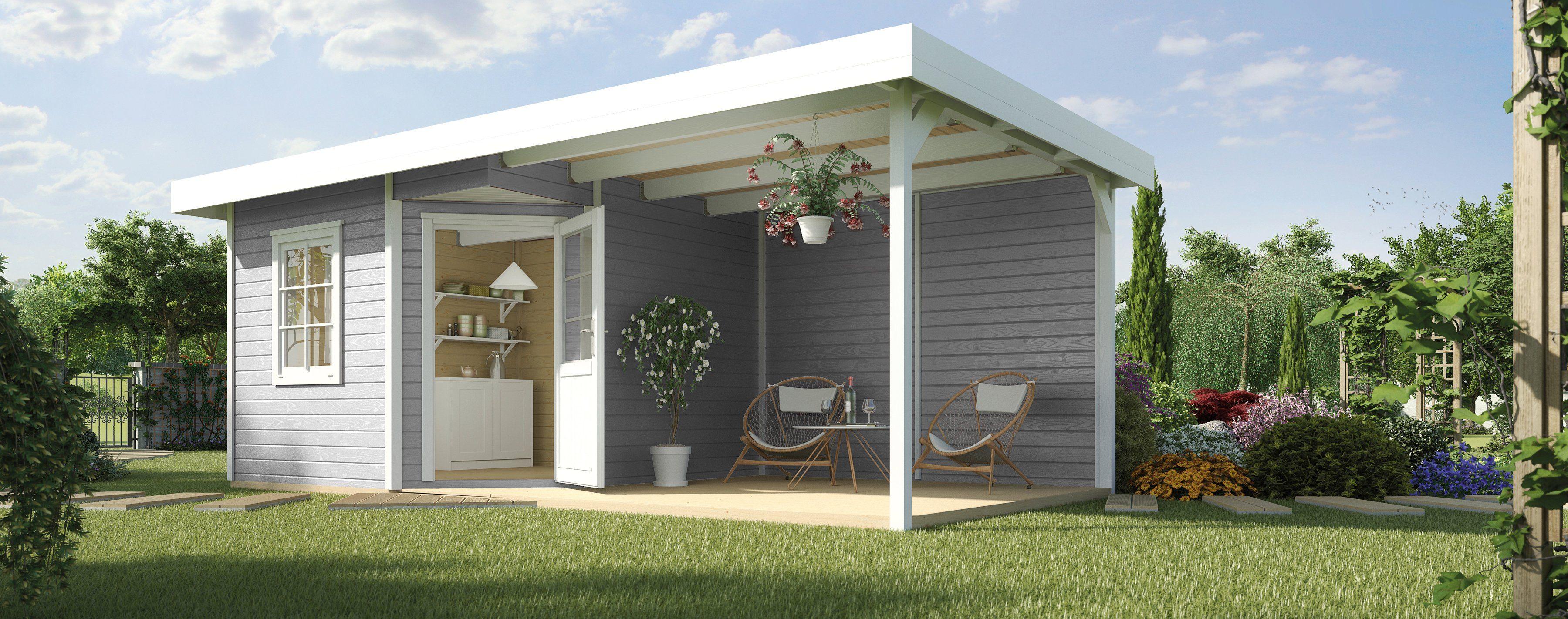 WEKA Set: Blockbohlenhaus »Designhaus 213B Gr.1«, BxT: 541x238cm, mit seitlichem Anbau, grau