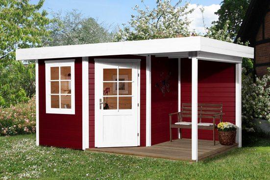 WEKA Set: Gartenhaus »Designhaus 213A Gr.1«, BxT: 442x278 cm, mit Anbaudach + Rückwand und Boden im Haus