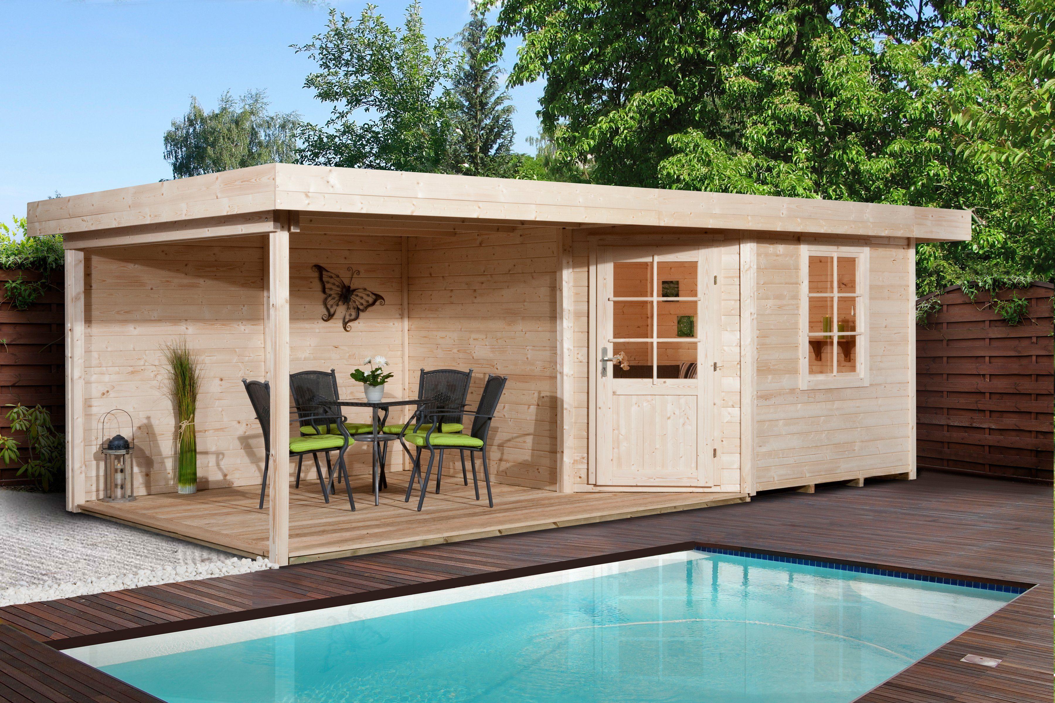 WEKA Set: Blockbohlenhaus »Designhaus 213B Gr.1«, BxT: 541x238cm, mit seitlichem Anbau, natur