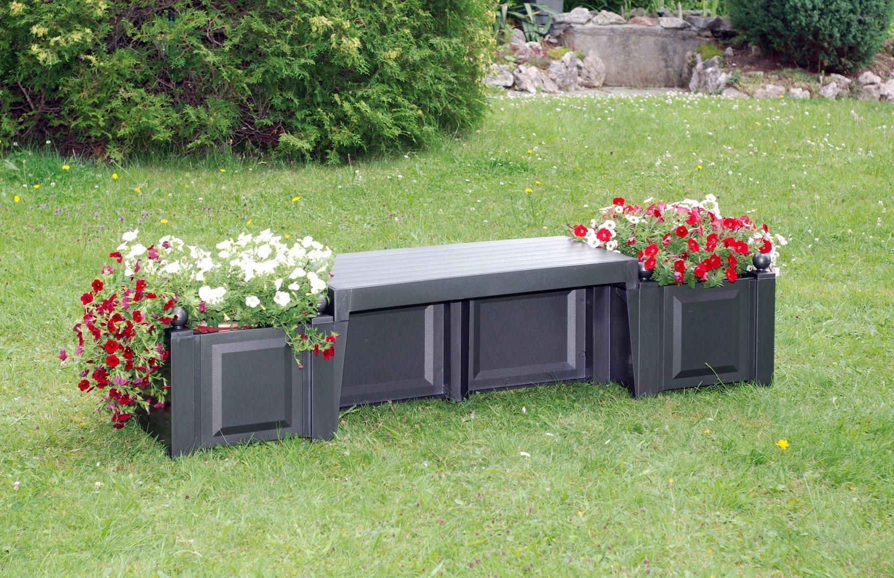 KHW Gartenbank »Berlin«, Kunststoff, 174x49x47 cm, anthrazit | Garten > Gartenmöbel > Gartenbänke | Baumhaus Verlag