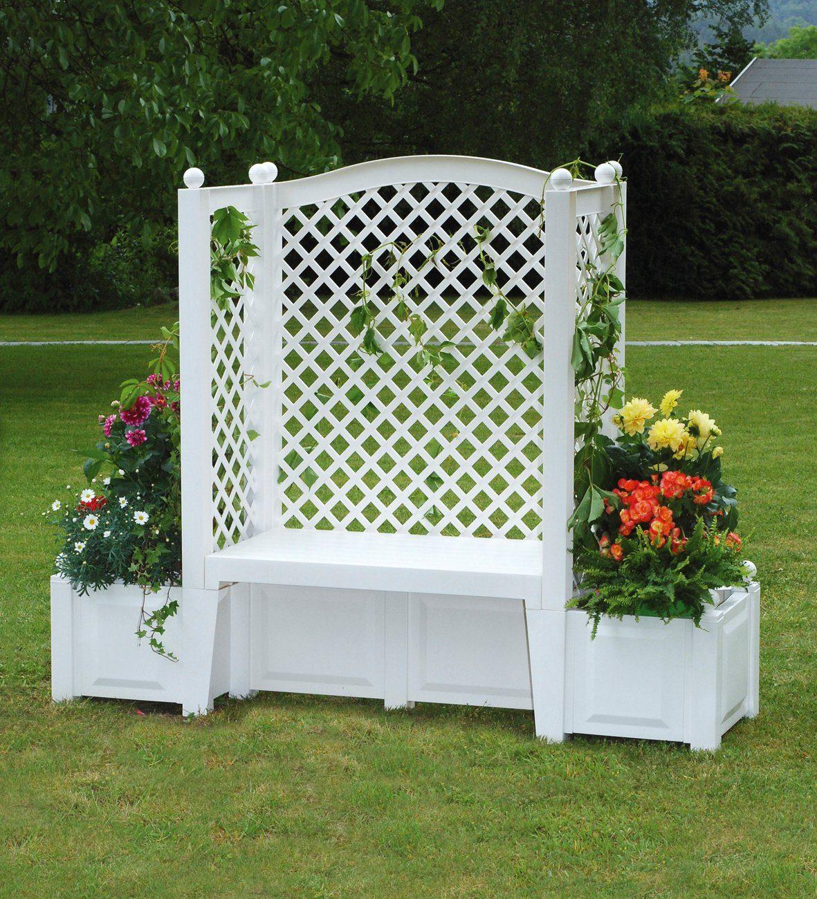 KHW Gartenbank »London«, Kunststoff, 174x49x139 cm, weiß