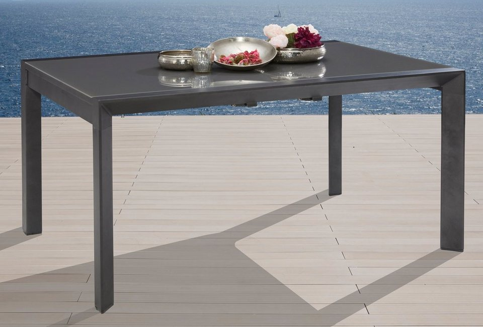gartentisch san remo aluminium ausziehbar 160 220x104 cm silber online kaufen otto. Black Bedroom Furniture Sets. Home Design Ideas