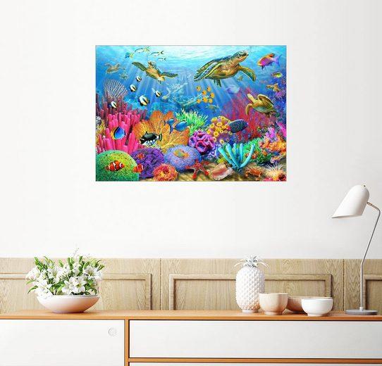 Posterlounge Wandbild - Adrian Chesterman »Korallenriff mit Schildkröten«