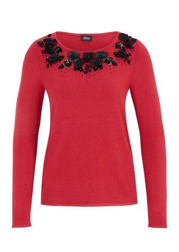 s.Oliver BLACK LABEL Pullover mit dekoriertem Kragen