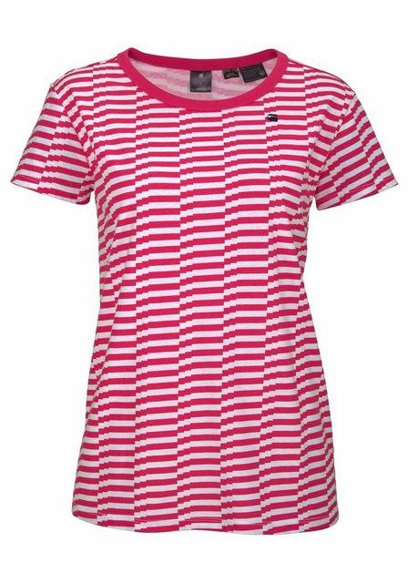 Damen G-Star RAW Rundhalsshirt RC loav stripe straight mit grafischem Alloverdruck weiß | 08719368787325