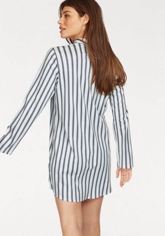 Calida Nachthemd im Streifenmuster mit Kopfleiste und Kragen