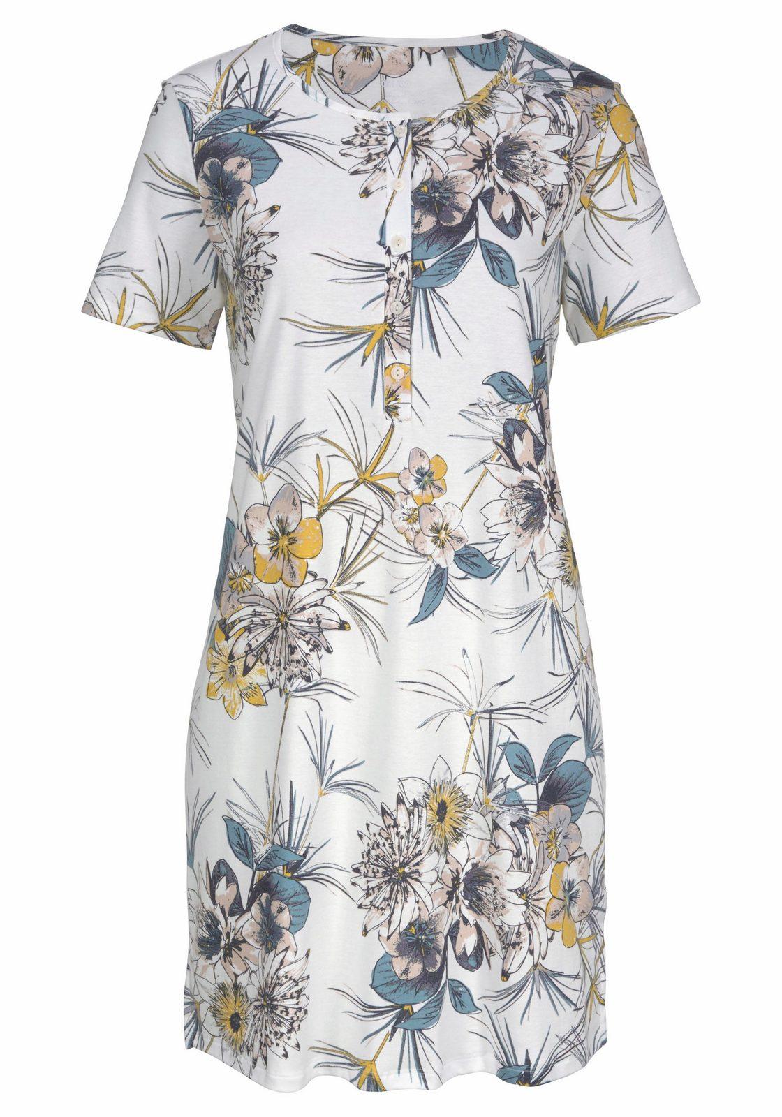 Calida Sleepshirt im Blumenmuster mit Knopfleiste