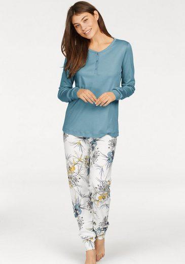 Calida Pyjama mit geblümter Schlafhose