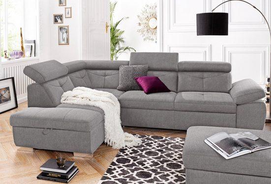 exxpo - sofa fashion Ecksofa, wahlweise mit Bettfunktion und Bettklasten