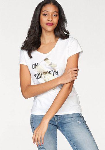 Zhrill T-Shirt BELLE, mit Statement und Glitzerprint