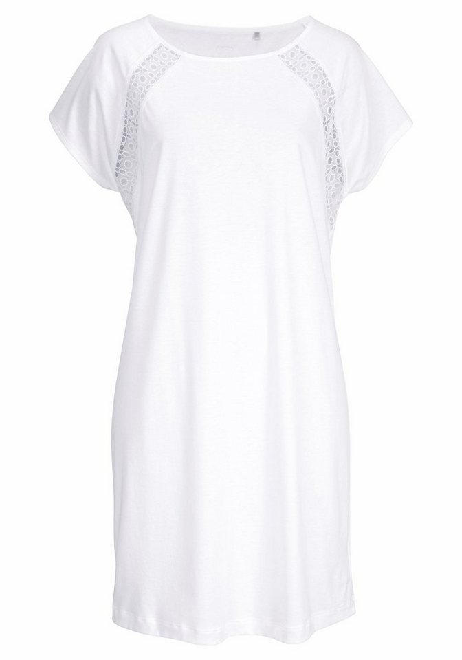 Calida Sleepshirt mit Spitzeneinsätzen in Häkeloptik