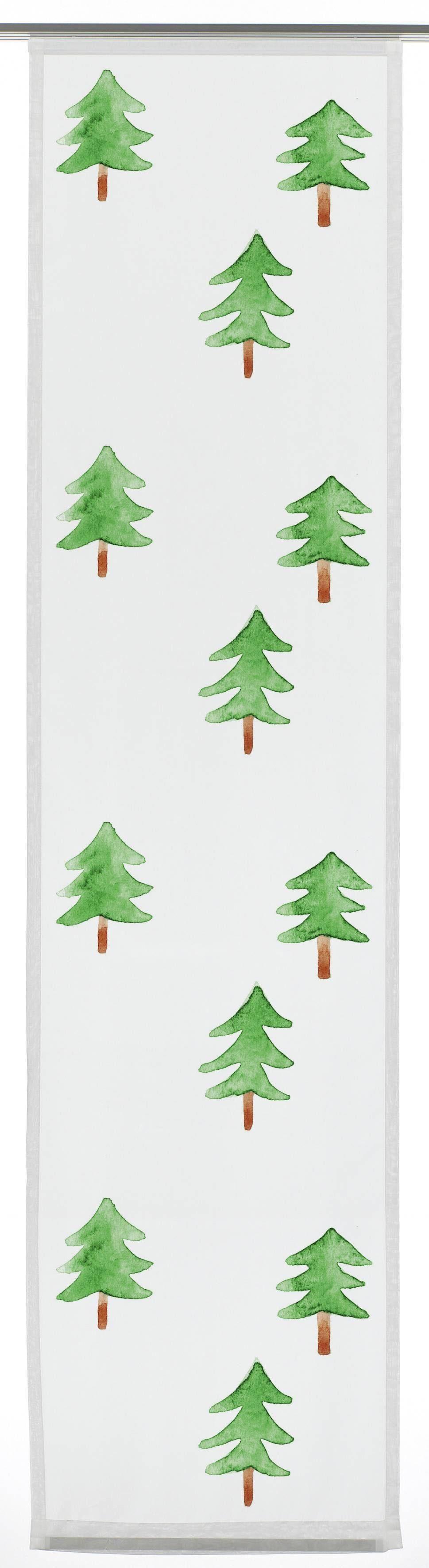 Schiebegardine, Gardinia, »Flächenvorhang Winterzauber Tanne«, mit Klettband (1 Stück mit Zubehör)
