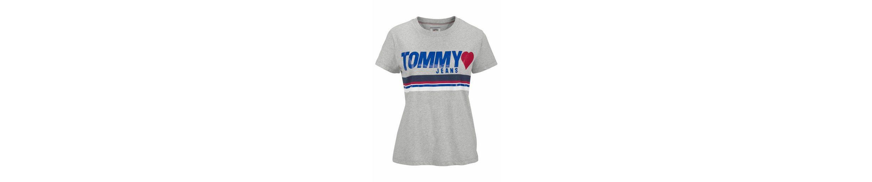 leicht mit TOMMY Rundhalsshirt JEANS JEANS mit Rundhalsshirt leicht Print TOMMY gl盲nzendem 8qfxdwC