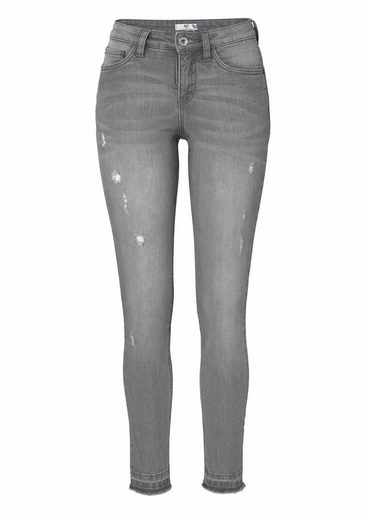 AJC Ankle-Jeans, mit Frasensaum und Crinkle-Effekt