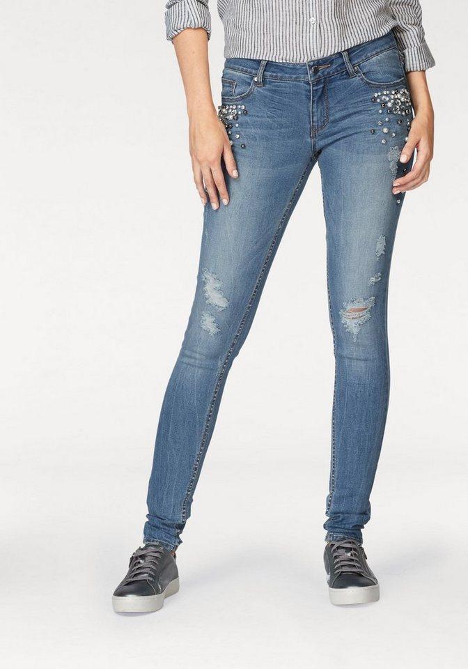 8be9ce7c5a4d Q S designed by Skinny-fit-Jeans »Sadie« mit Perlen und ...