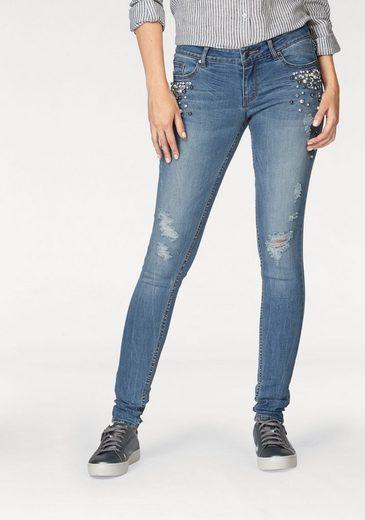 Q/S designed by Skinny-fit-Jeans Sadie, mit Perlen und Glitzersteinen