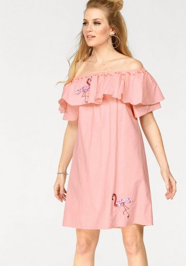 Miss Goodlife Off-Shoulder-Kleid, mit verschiedenen Applikationen