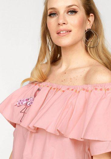 Miss Goodlife Off-Shoulder-Kleid, mit verschiedenen Applikationen