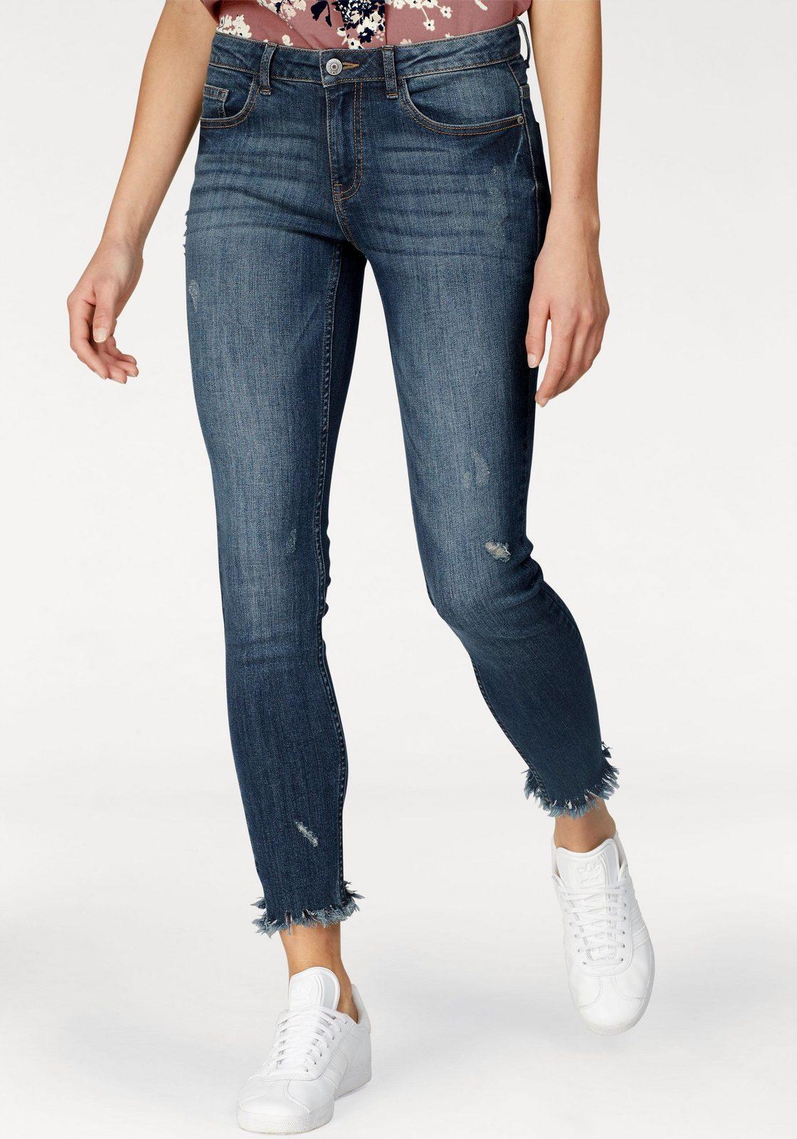JACQUELINE de YONG Stretch-Jeans »SKINNY FLORA« mit ausgefransten Säumen