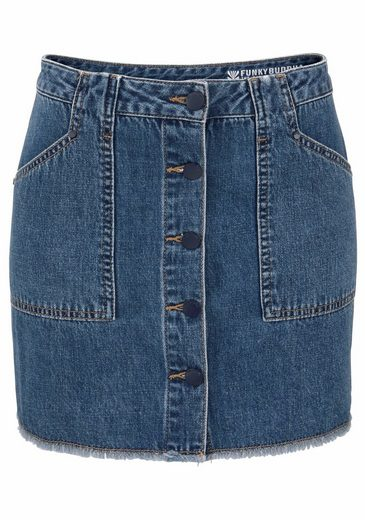 Funkybuddha Jeans Skirt With Button Facing Forward